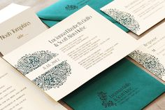 Teal, Modern Pattern Invitation • Custom Wedding Invitations & Stationery • Zephyr Weddings • Coralville, Iowa