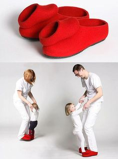 Dance Shoes for the Father and Daughter came from a Finnish felt factory. These adorable shoes for 2 encourage fathers to get as much dancing in with their daughters from a young age before their final dance at her wedding someday.
