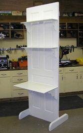 Old door desk. Turn old door into a desk or bookcase: Wooden Shelf Brackets, Wooden Shelves, Wood Shelf, Old Wooden Doors, Old Doors, Entry Doors, Old Door Desk, Door Shelves, Shelving