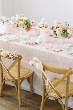 Check out the fabulous rustic table settings with floral decorations at this Disney-themed birthday party! See more party ideas and share yours at CatchMyParty.com #catchmyparty #partyideas #4favoritepartiesoftheweek #disneyparty #disney #girlbirthdayparty