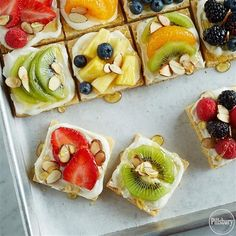 Sweeten up Game Day with this recipe for Fruit-Topped Sugar Cookie Pizza . Start with  Pillsbury:tm: Purely Simple:tm: Sugar Cookie Mix for the crust, top with cream cheese frosting and your favorite fruits like strawberries, kiwi, berries, pineapple, mandarin oranges. Sprinkle with almonds and drizzle with honey before serving!