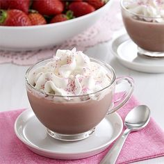 Easy strawberry hot chocolate recipe adds hot cocoa mix to strawberry flavored milk and is topped with creamy Reddi-wip for a flavored hot chocolate