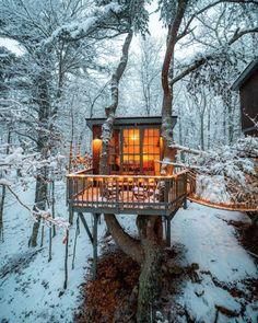 Ideas tree house to live in architecture Beautiful Tree Houses, Cool Tree Houses, Tiny Houses, Tiny House Cabin, Tree House Designs, Tiny House Design, Loft Design, Design Art, Ideas Cabaña