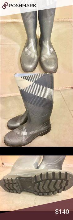 Burberry Gray Wellington Rain Boots. Burberry Gray Wellington Rain Boots. Excellent pre-owned condition! Burberry Shoes Winter & Rain Boots