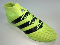 SR4U Reflective Neon Yellow Soccer Laces on adidas Ace 16.1 Primeknit