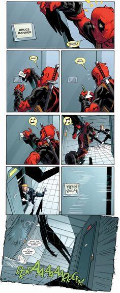 Deadpool pulling pranks. Oh that poor S.H.I.E.L.D agent