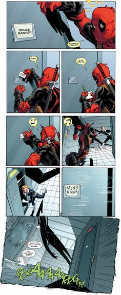 Deadpool pulling pranks. Oh that poor S.H.I.E.L.D agent