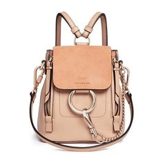 Chloé 'Faye' mini suede flap leather backpack (€1.310) ❤ liked on Polyvore featuring bags, backpacks, purses, pink, suede backpack, red leather backpack, leather knapsack, leather flap backpack and leather rucksack
