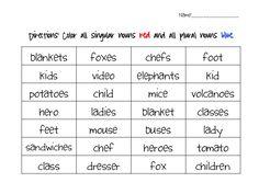 Fancy Free in Fourth: Singular and Plural Noun Activity Pack Plural Nouns Worksheet, Singular And Plural Nouns, 2nd Grade Writing, 3rd Grade Reading, Teaching Time, Teaching Reading, Student Teaching, Teaching Ideas, Word Sorts