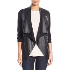 MICHAEL Michael Kors Faux Leather & Knit Drape Front Cardigan (3 505 UAH) ❤ liked on Polyvore featuring tops, cardigans, black, draped knit cardigan, knit cardigan, long sleeve tops, collar cardigan and black knit top