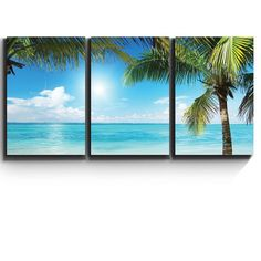 3 Piece Canvas Print - Contemporary Art, Modern Wall Decor - Tropical blue waters framed by Palms - Giclee Artwork - Gallery Wrapped Wood Stretcher Bars - Ready to Hang- Wall26 - 16x24x3 Panels  CVS-PALMTREES-27-16x24x1.50x3 *High quality printed canvas stretched and stapled to durable shrink resistant frames. *1.50 thick stretcher bars for gallery quality profile. *Canvases are printed and hand stretched in the USA by professionals. *Hanging accessory kit included. *All Wall26® Products are…