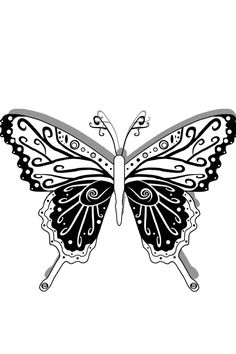Butterfly design pattern black and white