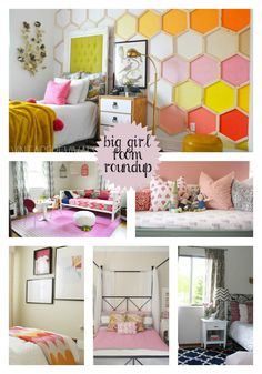 How cute are these big girl rooms???  I just love the honeycomb design on the wall! Be Still My Heart: Big Girl Room RoundupShoes Off, Please | Shoes Off, Please