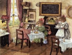 "Life is sweet on ""Holly Pond Hill"" when it is illustrated by the gifted artist Susan Wheeler. Susan Wheeler, Beatrix Potter, Lapin Art, Motifs Animal, Bunny Art, Woodland Creatures, Peter Rabbit, Children's Book Illustration, Book Illustrations"