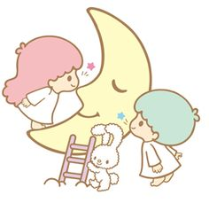 Kiki and Lala kissing the moon.