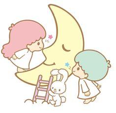 Kiki and Lala kissing the moon.
