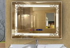 42USD,rectangular bathroom led mirror with clock, date disappear