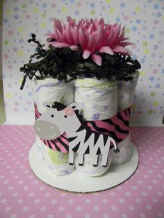 Hot pink ZEBRA mini diaper cake baby shower by diapercake4less, $6.25