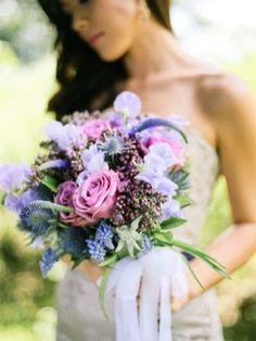 shades of violet bridal bouquet
