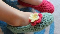 Háčkované balerínky s květinkou