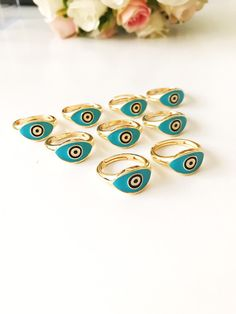 blue turquoise or black enamel Adjustable golden ring trend charms duo of decorated circles and cross in white