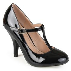 Journee Collection Women's 'Cabrie' Patent T-strap Pumps - Overstock™ Shopping - Great Deals on Journee Collection Heels