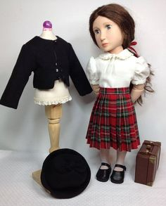 Here is a 1940 style outfit which has been designed to fit a girl for all time dolls. Please note this will not fit the 18inch american girl doll If you would like measurements to see if it will fit your doll please contact me. The outfit consists of 4 pieces a skirt a blouse a jacket and a hat The skirt was made from a red plaid cotton fabric and fastens with snaps down the back The blouse was made from a cream wool/cotton mix fabric and fastens with 3 buttons down the back The jacket and…