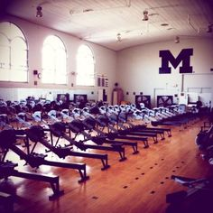 The Erg Room at University of Michigan Row Row Your Boat, Row Row Row, The Row, Michigan Athletics, University Of Michigan, Ab Workout At Home, At Home Workouts, Rowing Photography, Mississippi State Football