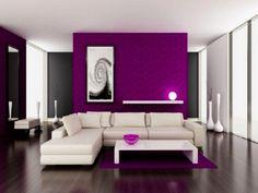 Black White Purple Living Room