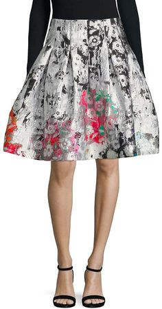 7c4a759887 Oscar de la Renta Women's Floral Pleated Skirt Floral Pleated Skirt, Oscar  De La Renta