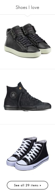 """""""Shoes I love"""" by anya-kir-biersack on Polyvore featuring shoes, sneakers, black, lace up sneakers, leather shoes, black leather sneakers, black lace up shoes, black sneakers, converse and converse high tops"""