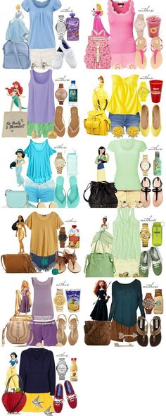 Disney outfits. Belle- bag, watch, and earrings. Jasmine- shirt, shoes, watch. Mulan- earrings, bag, shoes. Pocahontas- shoes, watch, bag. Merida- everything but the shorts.