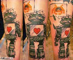 aww i luv robots Vintage Robots, Ink Splatter, Cool Tats, Mini One, Space Invaders, Great Tattoos, Color Tattoo, Tattoo Art, Tribal Art