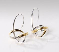 Drop Orbit Earrings by Nancy Linkin: Silver & Gold Earrings  available at www.artfulhome.com  $630