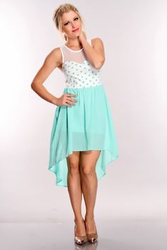 Mint White Polka Dot High Low Hem Dress @ Amiclubwear sexy dresses,sexy dress,prom dress,summer dress,spring dress,prom gowns,teens dresses,sexy party wear,women's cocktail dresses,ball dresses,sun dresses,trendy dresses,sweater dresses,teen clothing,even