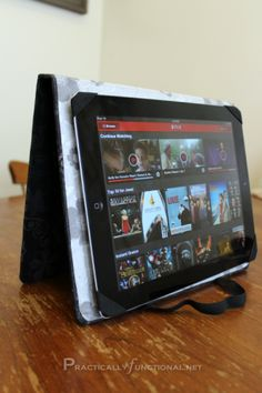 """DIY iPad Cover And Stand   Practically Functional.  This is actually """"no sew"""" and really clever, even has hole for camera."""