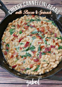 Turn 2 cans of cannellini beans into a delicious side dish! This cannellini bean recipe is made with bacon, onions, garlic and spinach for a delicious, healthy and cheap recipe! #MyBestWithBushBeans AD
