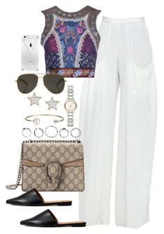 """""""Untitled #3788"""" by lily-tubman ❤ liked on Polyvore featuring Alice + Olivia, Etro, Gucci, Burberry, Letters By Zoe, Givenchy and Yves Saint Laurent"""