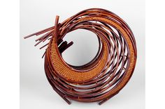 Kagedo Japanese Art Honma Kazuaki, 1973 Nitten Exhibition, Swirling Disc, Bamboo Sculpture - Kagedo Japanese Art