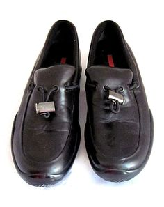 276ff7e22a6 PRADA Women s Black Leather Slip On Sneaker Tennis Shoe Size 38 US 8 Italy   PRADA