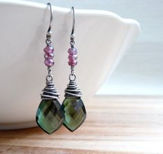 Green+Quartz+and+Mystic+Garnet+Earrings+by+karinagracejewelry,+$42.00