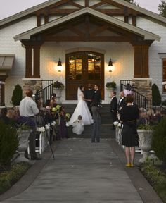 """Saying """"I Do"""" on the steps of the Carriage House..."""