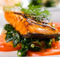 Salmon, spinach, sauce, so many succulent ingredients in one Zone meal.