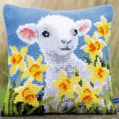 Lamb: kussen te borduren in kruissteek op voorgeschilderd stramien