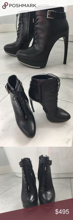 """Alexander McQueen black lace-up leather booties Signature McQueen """"arced"""" 5"""" heels with 1"""" platform. Size 38. Made in Italy. Worn once. Include dust bag. Alexander McQueen Shoes Ankle Boots & Booties"""