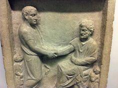 Bona fide Roman handshake on a grave stele British Museum, Pure Products, Sculpture, Statue, Hands, Men, Romans, Sculpting, Sculptures