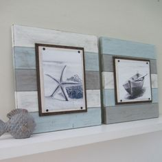 Lovely set of two multi-colored beach inspired frames, lightly distressed and ready for your vacation memories - The Project Cottage - $135