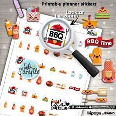 BBQ Stickers - Printable Planner Stickers - Grill Stickers- Summer Stickers - BBQ Party - Picnic Stickers