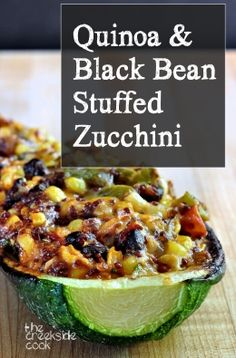 Ready in just minutes filled with yummy veggies and infinitely adaptable Quinoa and Black Bean Stuffed Zucchini on The Creekside Cook glutenfree Vegetable Recipes, Vegetarian Recipes, Healthy Recipes, Vegan Vegetarian, Paleo, Clean Eating Recipes, Cooking Recipes, Cooking Corn, Cooking Ribs
