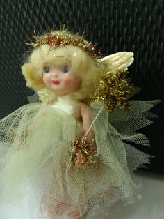 Vintage 1950 Hard Plastic Rosebud Doll Christmas Tree Fairy Angel Decoration